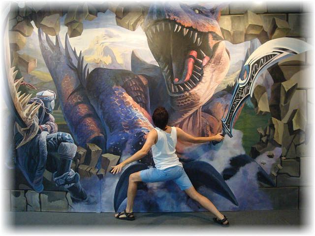 Pseudo-3D Bild-Der Kampf mit dem Drachen