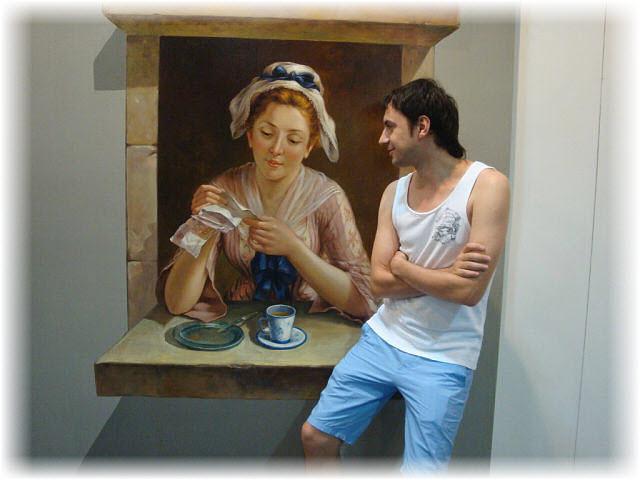 Pseudo-3D Bild-Die Frau hinter der Theke