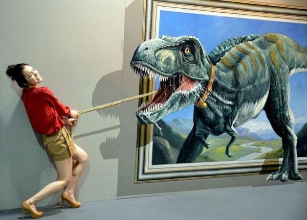 Dinosaurier an der leine ziehen