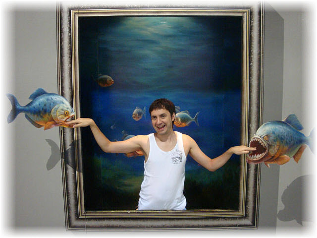 Pseudo-3D Bild-Piranhas 3D
