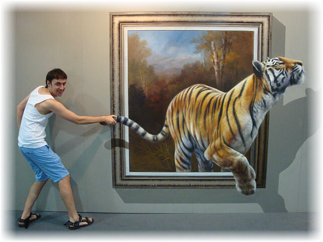 Pseudo-3D Bild-den Tigern am Schwanz ziehen