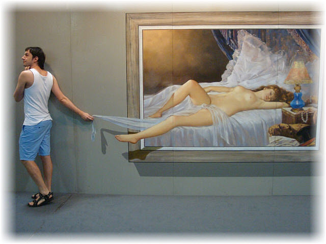 Pseudo-3D Bild-der schlafenden Frau die Decke klauen