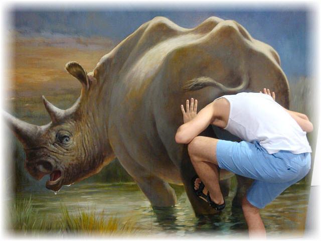 Pseudo-3D Bild-im Nashorn arsch