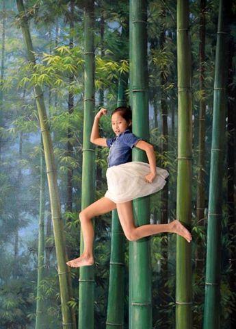 Maedschen fliegt durch den Wald