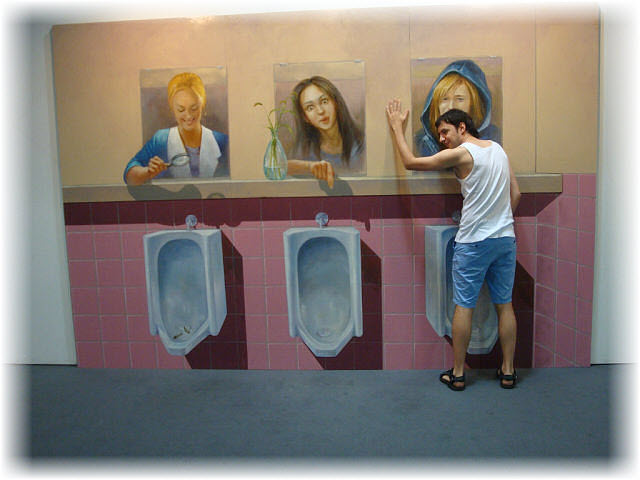 Pseudo-3D Bild-maenner-wc