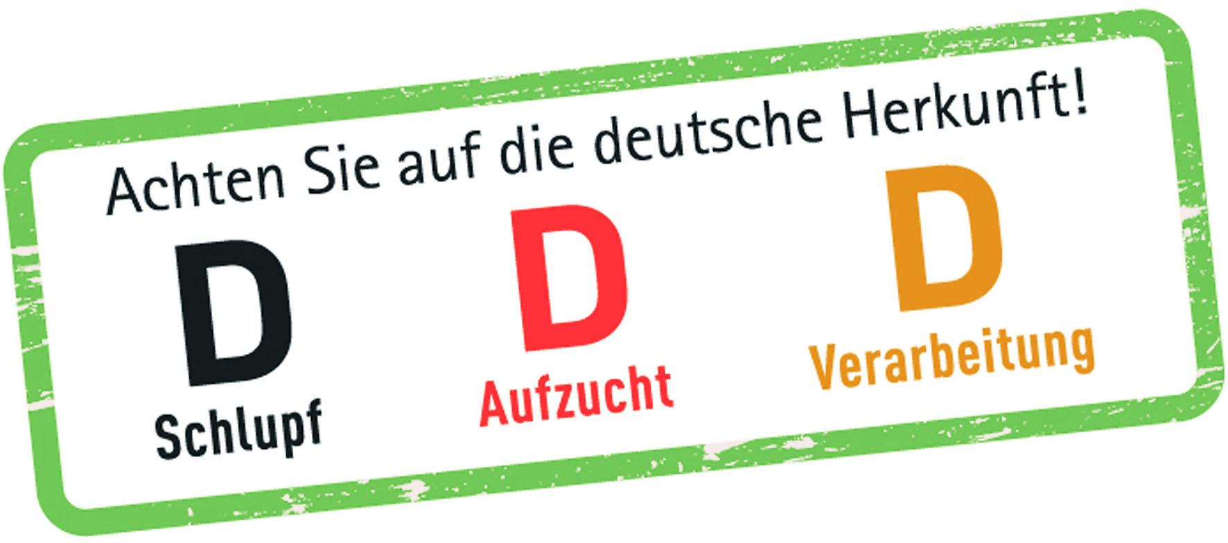 """Beim Einkauf sollte man auf die deutsche Herkunft von Geflügelfleisch achten, zu erkennen an den """"D"""" auf der Verpackung. Diese stehen für eine streng kontrollierte heimische Erzeugung nach hohen Standards für den Tier-, Umwelt- und Verbraucherschutz."""