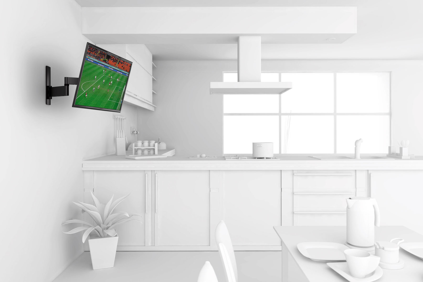 Praktische Neigefunktion: Eine gute Lösung, um den Bildschirm etwas höher zu platzieren oder auch im Bett Spielfilme und Sportereignisse verfolgen zu können.