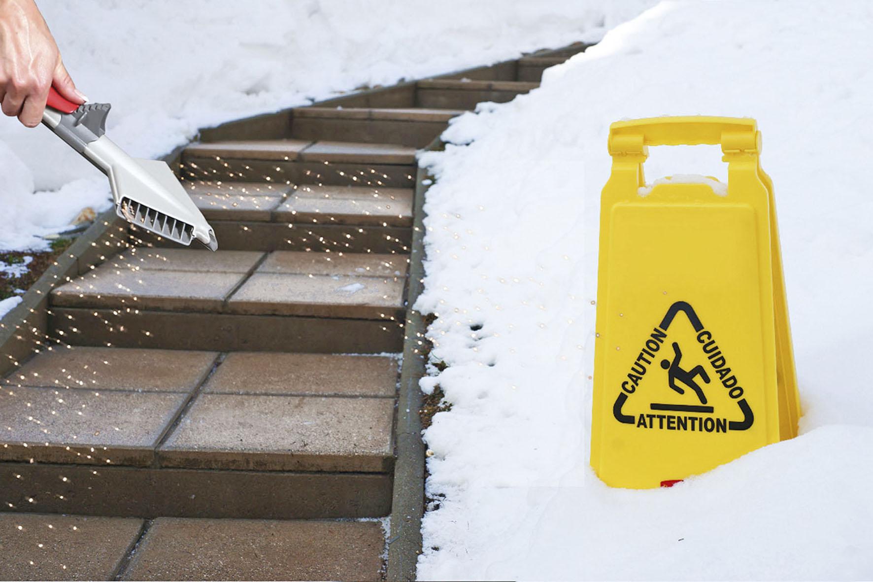 Der Granulatstreuer sorgt für Abtauen auf Treppen, Wegen und Garagenzufahrten