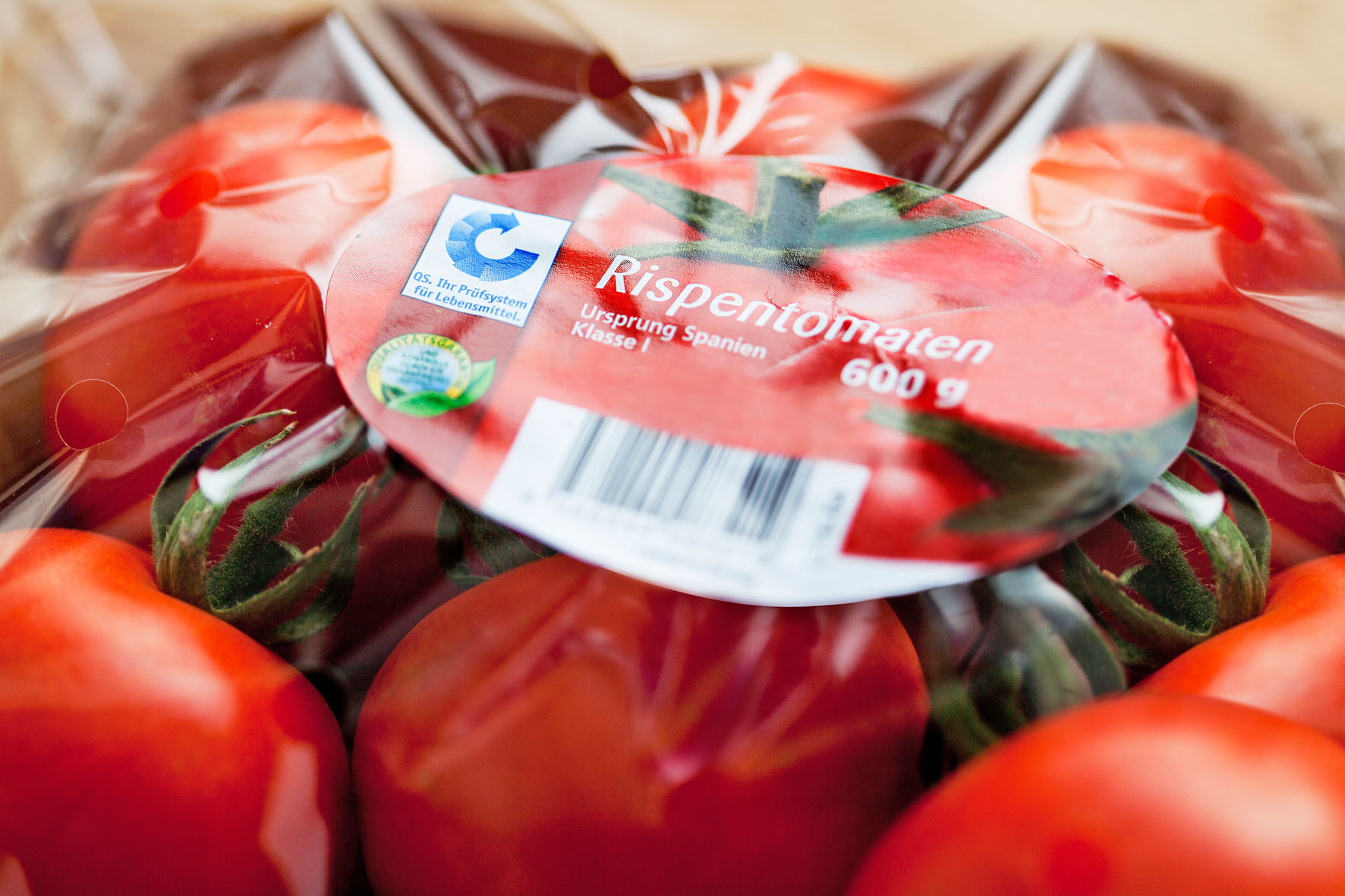 Das Etikett verrät unter anderem die handelsübliche Bezeichnung, das Gewicht und das Ursprungsland.